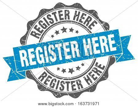 register here. stamp. sign. seal. round. retro. ribbon