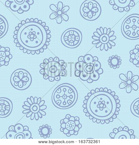 Cute Seamless Pattern With Flowers And Abstract Elements On Blue Background. Eps-10 Vector