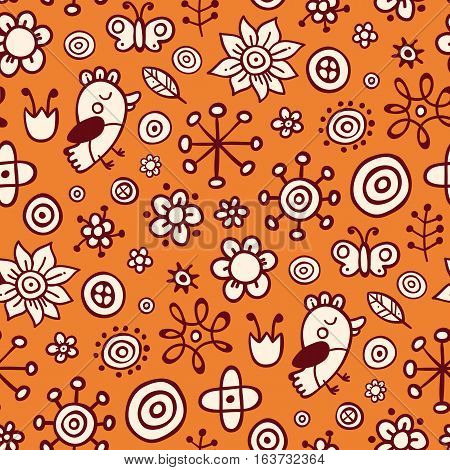 Cute Seamless Pattern With Birds And Flowers On Orange Background. Eps-10 Vector