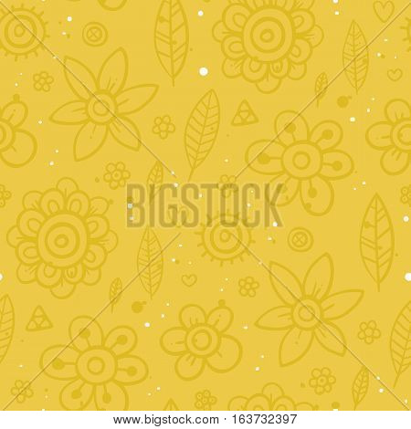 Cute Seamless Pattern With Flowers And Abstract Elements On Yellow Background. Eps-10 Vector