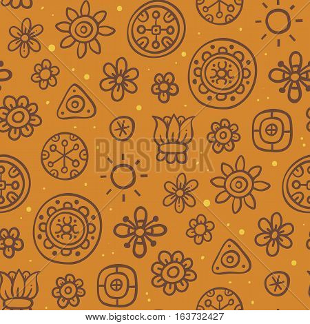 Cute Seamless Pattern With Flowers And Abstract Elements On Orange Background. Eps-10 Vector