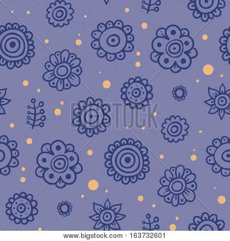 Cute Seamless Pattern With Flowers And Abstract Elements On Violet Background. Eps-10 Vector