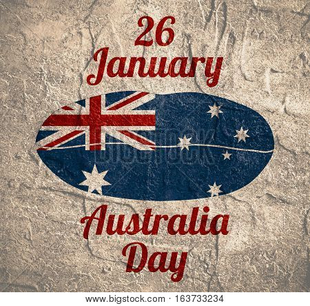 Australia flag design concept. Flag printed on woman lips. Image relative to travel and politic themes. 26 January Australia Day text. Grunge textured backdrop