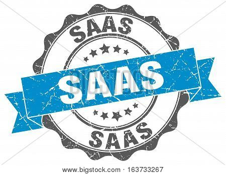 saas. stamp. sign. seal. round. retro. ribbon