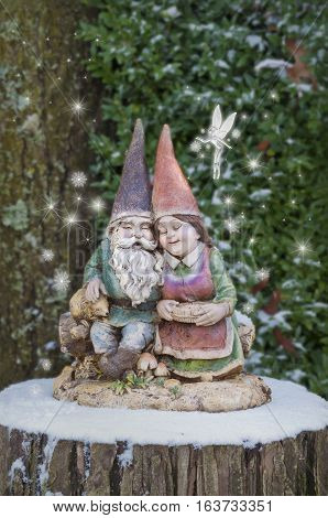 Gnome couple hugging on tree stump with snowflakes and  ice fairy sprinkling snowflakes with glowing stars/Gnome couple hugging on tree stump with snowflake fairy