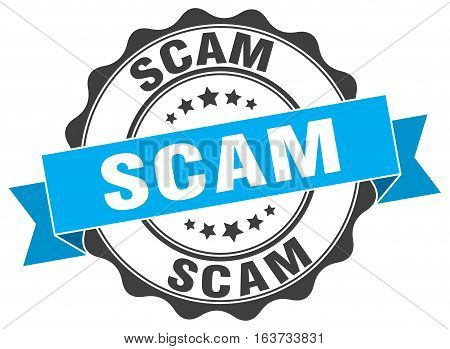 scam. stamp. sign. seal. round. retro. ribbon