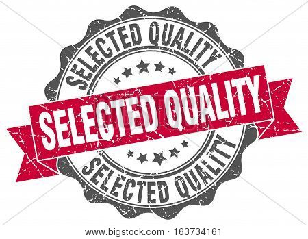 selected quality. stamp. sign. seal. round. retro. ribbon