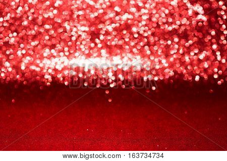 Defocused Abstract Red Glitter With Bokeh Background