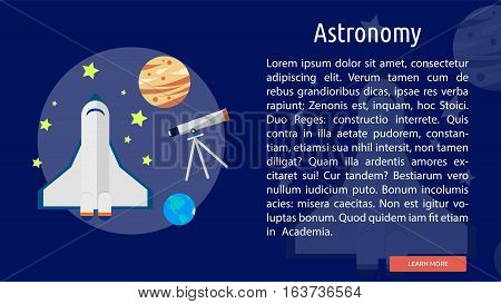 Astronomy Conceptual Banner   Great flat icons with style long shadow icon and use for teacher, education, science, analysis, knowledge, learning, event and much more.