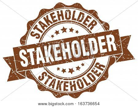 stakeholder. stamp. sign. seal. round. retro. ribbon