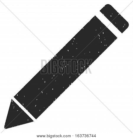 Edit Pencil grainy textured icon for overlay watermark stamps. Flat symbol with dirty texture. Dotted vector gray ink rubber seal stamp with grunge design on a white background.