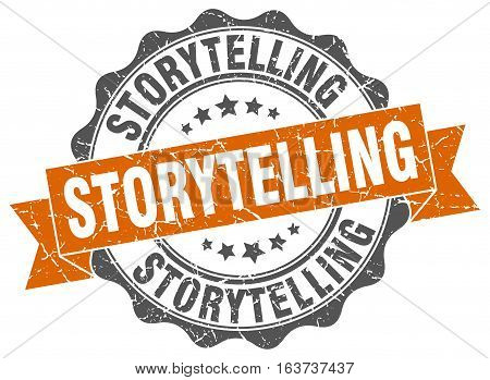storytelling. stamp. sign. seal. round. retro. ribbon