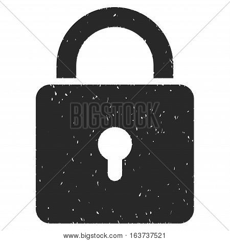 Lock grainy textured icon for overlay watermark stamps. Flat symbol with dirty texture. Dotted vector gray ink rubber seal stamp with grunge design on a white background.