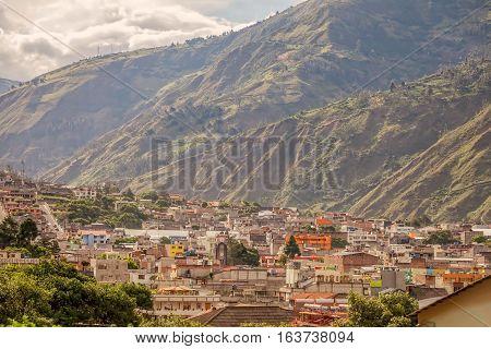 Banos De Agua Santa Tungurahua Province Ecuador Aerial Telephoto Shot South America