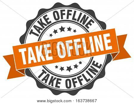 take offline. stamp. sign. seal. round. retro. ribbon
