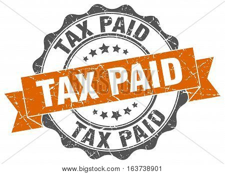 tax paid. stamp. sign. seal. round. retro. ribbon