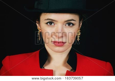 Vintage styled portrait of a young woman in a hat . isolated on white background