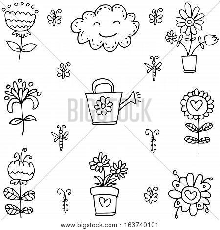 Illustration of spring doodle set collection stock