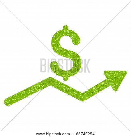 Sales Trend grainy textured icon for overlay watermark stamps. Flat symbol with scratched texture. Dotted vector light green ink rubber seal stamp with grunge design on a white background.