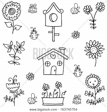 Doodle of spring theme flower collection stock