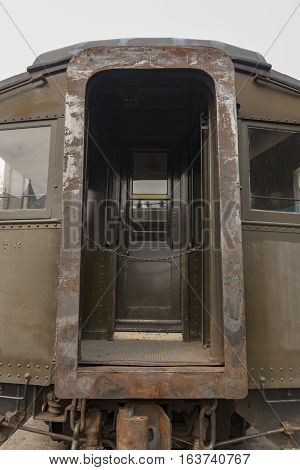 Doorway of an old railcar in Duluth Minnesota