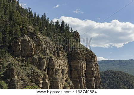 A rocky mountainside in Colorado covered in pine trees.