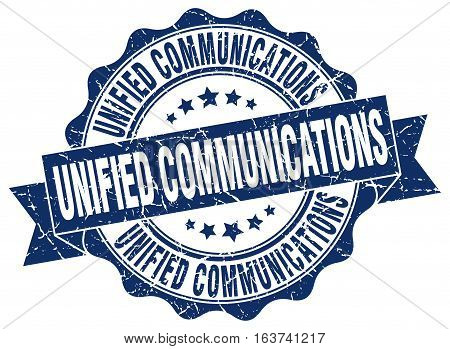 unified communications. stamp. sign. seal. round. retro. ribbon