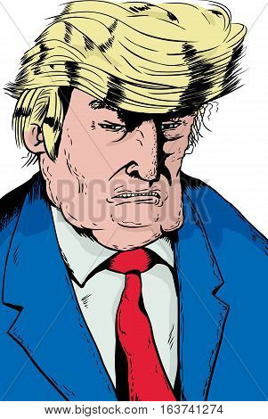 Angry Trump Caricature In Blue Jacket