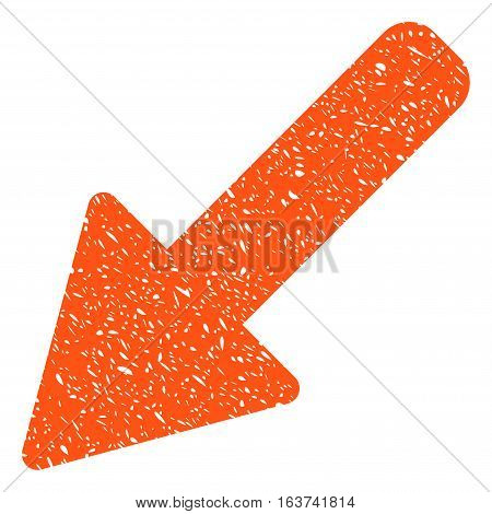 Left Down Arrow grainy textured icon for overlay watermark stamps. Flat symbol with dust texture. Dotted vector orange ink rubber seal stamp with grunge design on a white background.