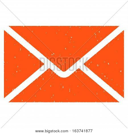 Mail Envelope grainy textured icon for overlay watermark stamps. Flat symbol with dust texture. Dotted vector orange ink rubber seal stamp with grunge design on a white background.