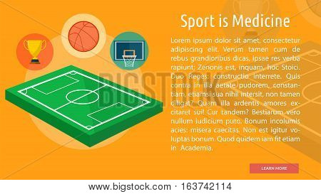Sport is Medicine Conceptual Banner | Great flat icons design illustration concepts for sport, health, medical, banner and much more.