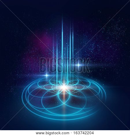 Sacred Geometry Symbols And Elements Background. Alchemy, Religion, Philosophy,