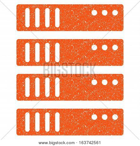 Server grainy textured icon for overlay watermark stamps. Flat symbol with unclean texture. Dotted vector orange ink rubber seal stamp with grunge design on a white background.