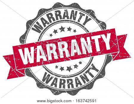 warranty. stamp. sign. seal. round. retro. ribbon