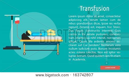 Transfusion Conceptual Banner | Great flat icons design illustration concepts for health, medical, science, diagnostic and much more.