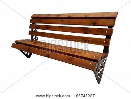 Wooden Park Bench Isolated on White Background. Clipping Path included