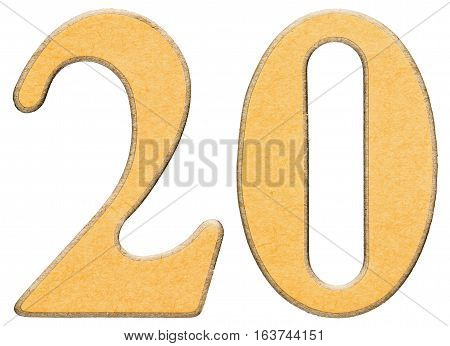 20, Twenty, Numeral Of Wood Combined With Yellow Insert, Isolated On White Background