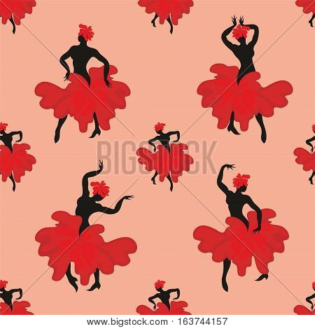 Seamless pattern with the image of the silhouette of a beautiful woman dancing flamenco.