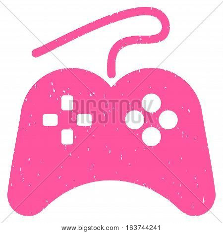 Gamepad grainy textured icon for overlay watermark stamps. Flat symbol with unclean texture. Dotted vector pink ink rubber seal stamp with grunge design on a white background.