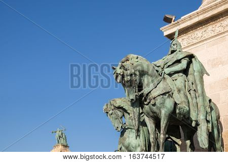 Heroes Square With Statue Complex Featuring The Seven Chieftains Of The Magyars. Budapest, Hungary
