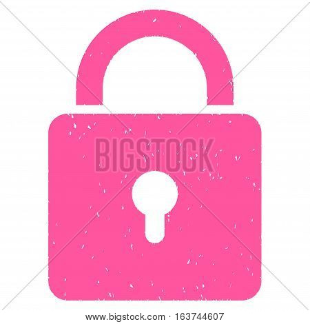 Lock grainy textured icon for overlay watermark stamps. Flat symbol with dirty texture. Dotted vector pink ink rubber seal stamp with grunge design on a white background.