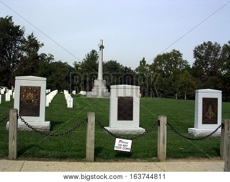 Arlington USA - October 18 2004: The Columbia and Challenger Memorial in Arlington National Cemetery.