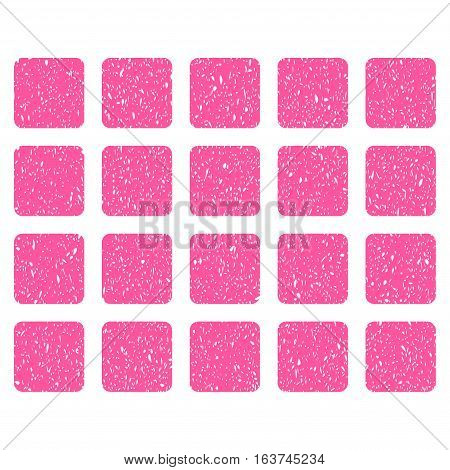 Square Grid grainy textured icon for overlay watermark stamps. Flat symbol with dust texture. Dotted vector pink ink rubber seal stamp with grunge design on a white background.