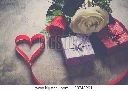 Valentine Day Background, Red Heart With Red White Rose