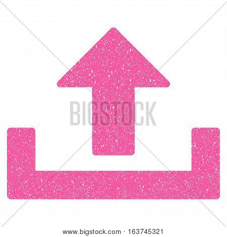 Upload grainy textured icon for overlay watermark stamps. Flat symbol with dirty texture. Dotted vector pink ink rubber seal stamp with grunge design on a white background.