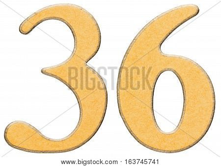 36, Thirty Six, Numeral Of Wood Combined With Yellow Insert, Isolated On White Background