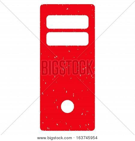 Computer Mainframe grainy textured icon for overlay watermark stamps. Flat symbol with unclean texture. Dotted vector red ink rubber seal stamp with grunge design on a white background.