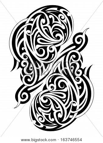 Symmetry Maori tattoo shape isolated on white backdrop