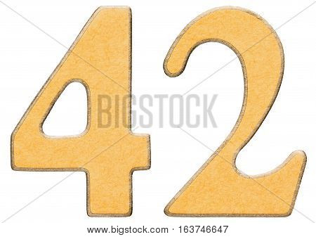 42, Forty Two, Numeral Of Wood Combined With Yellow Insert, Isolated On White Background