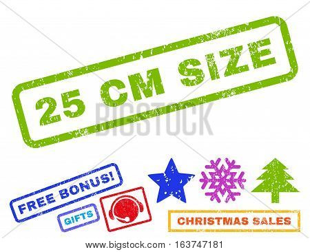 25 cm Size text rubber seal stamp watermark with additional bonus christmas symbols. Caption inside rectangular shape with grunge design and scratched texture.